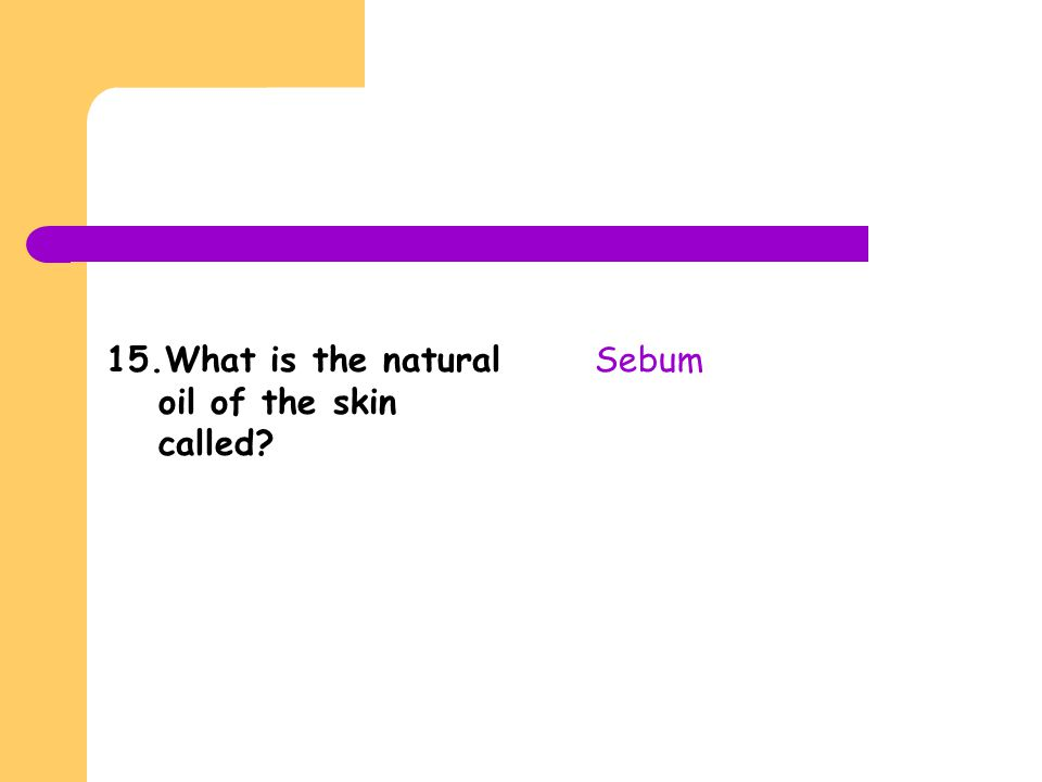 15.What is the natural oil of the skin called? Sebum
