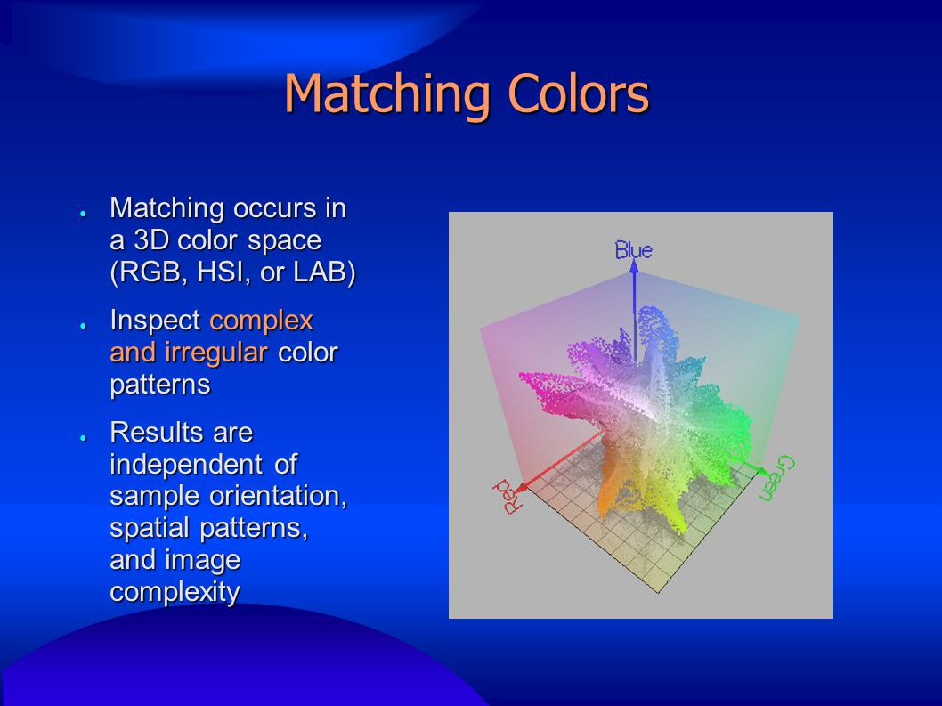 Matching Colors ● Matching occurs in a 3D color space (RGB, HSI, or LAB) ● Inspect complex and irregular color patterns ● Results are independent of sample orientation, spatial patterns, and image complexity