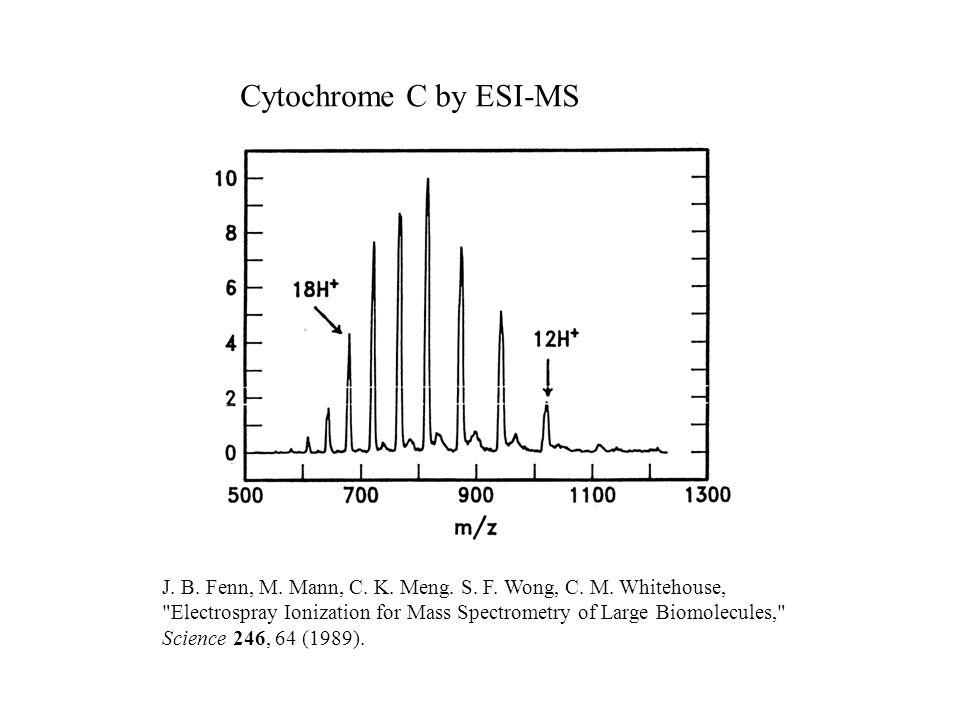 Cytochrome C by ESI-MS J. B. Fenn, M. Mann, C. K.