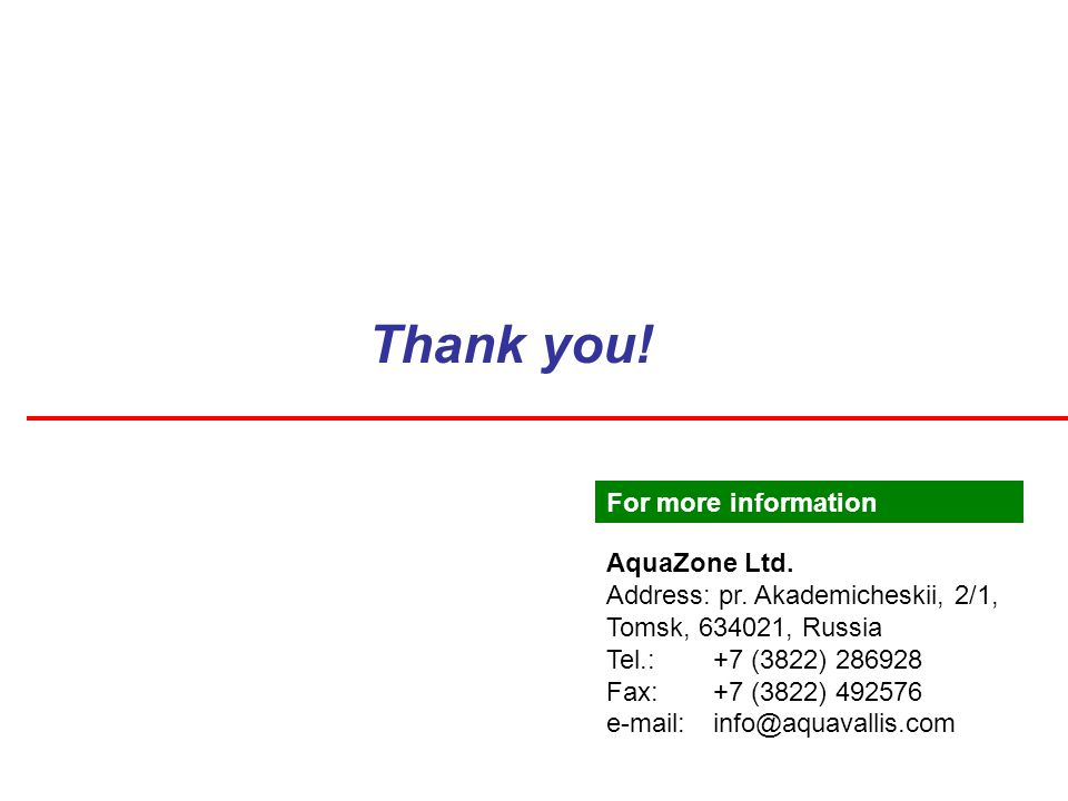 Thank you. AquaZone Ltd. Address: pr.