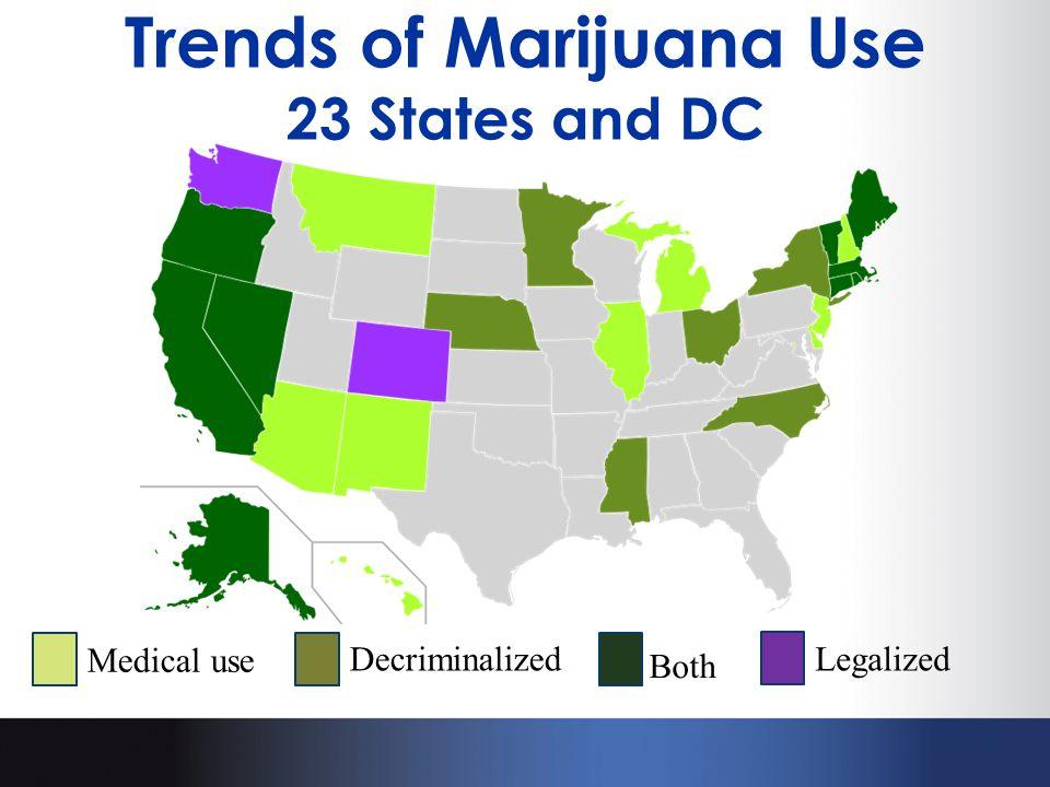 Trends of Marijuana Use 23 States and DC Legalized Medical use Decriminalized Both