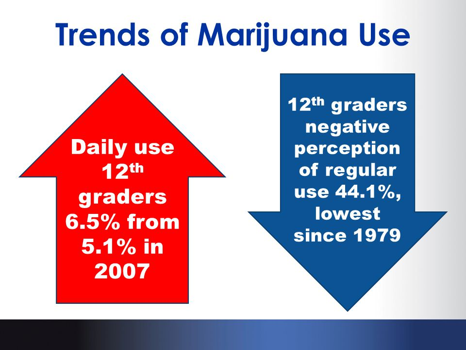 Trends of Marijuana Use Daily use 12 th graders 6.5% from 5.1% in 2007 12 th graders negative perception of regular use 44.1%, lowest since 1979