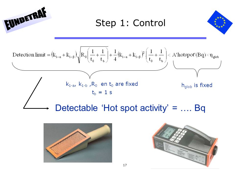 17 Step 1: Control k 1-a, k 1-b,R 0 en t 0 are fixed t b = 1 s h glob is fixed Detectable 'Hot spot activity' = …. Bq