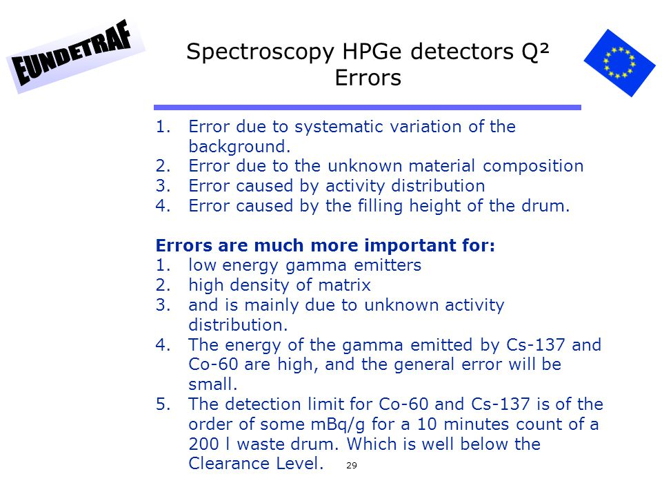 29 Spectroscopy HPGe detectors Q² Errors 1.Error due to systematic variation of the background. 2.Error due to the unknown material composition 3.Erro