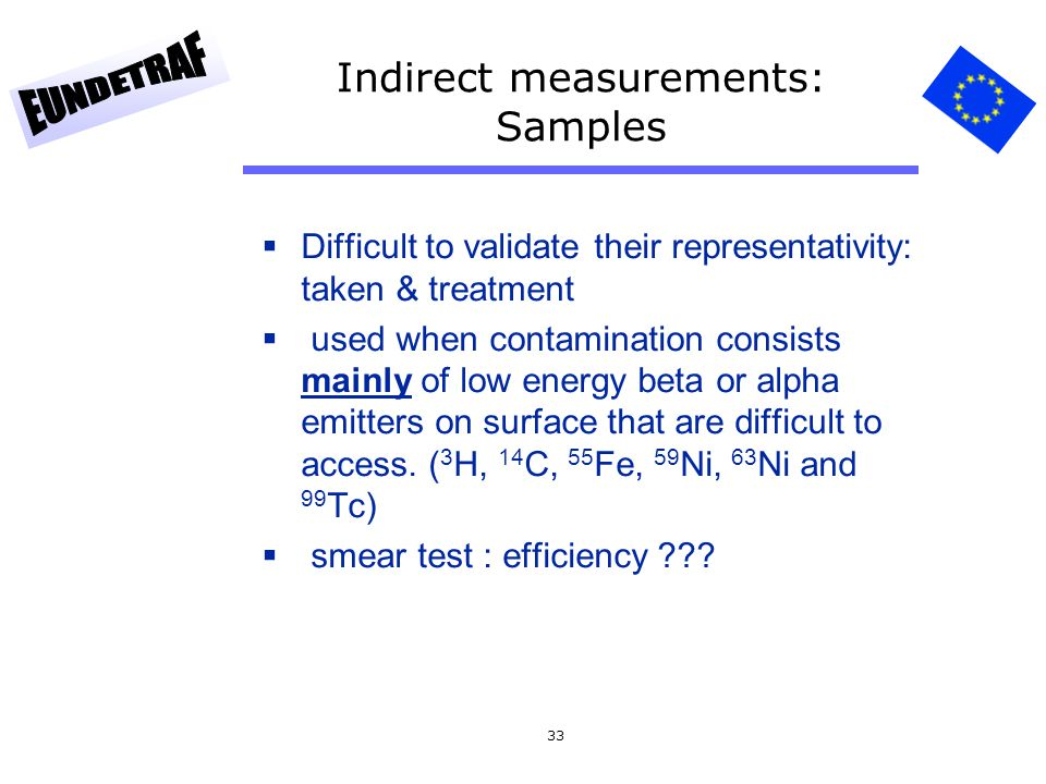 33 Indirect measurements: Samples  Difficult to validate their representativity: taken & treatment  used when contamination consists mainly of low e
