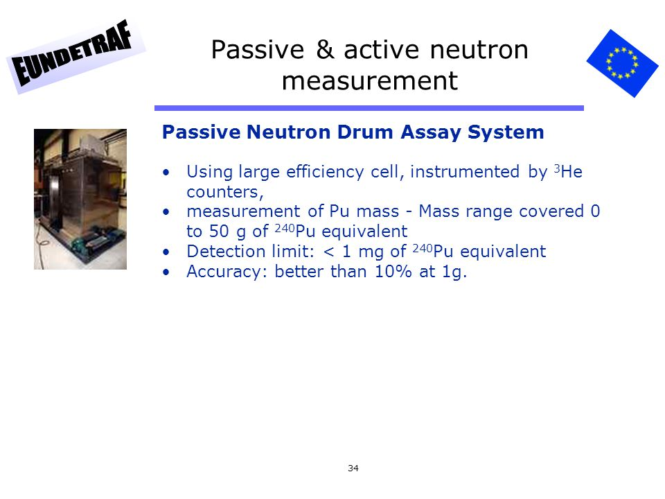 34 Passive & active neutron measurement Passive Neutron Drum Assay System Using large efficiency cell, instrumented by 3 He counters, measurement of P