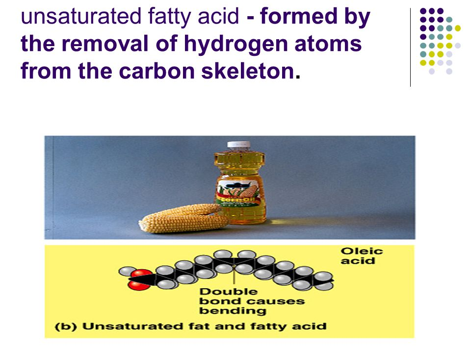 unsaturated fatty acid - formed by the removal of hydrogen atoms from the carbon skeleton.