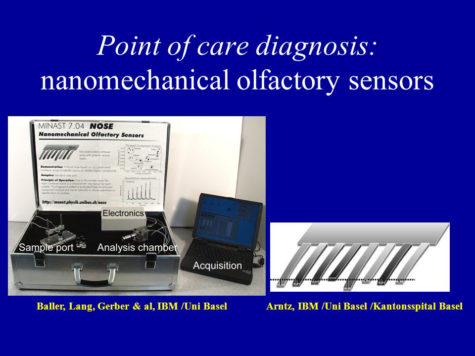 Point of care diagnosis: nanomechanical olfactory sensors Baller, Lang, Gerber & al, IBM /Uni BaselArntz, IBM /Uni Basel /Kantonsspital Basel