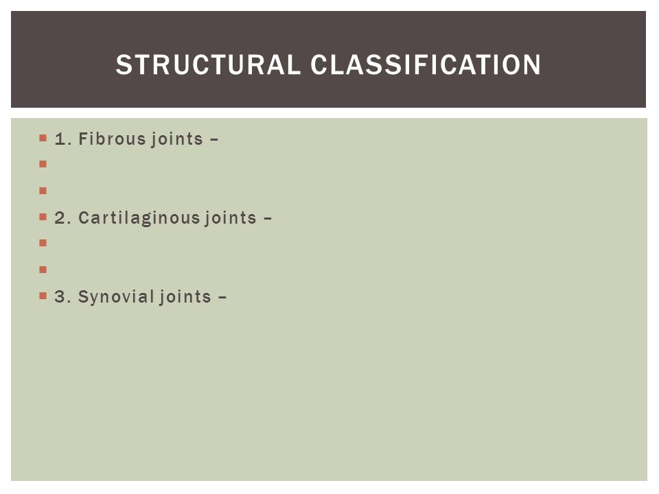  1. Fibrous joints –   2. Cartilaginous joints –   3. Synovial joints – STRUCTURAL CLASSIFICATION