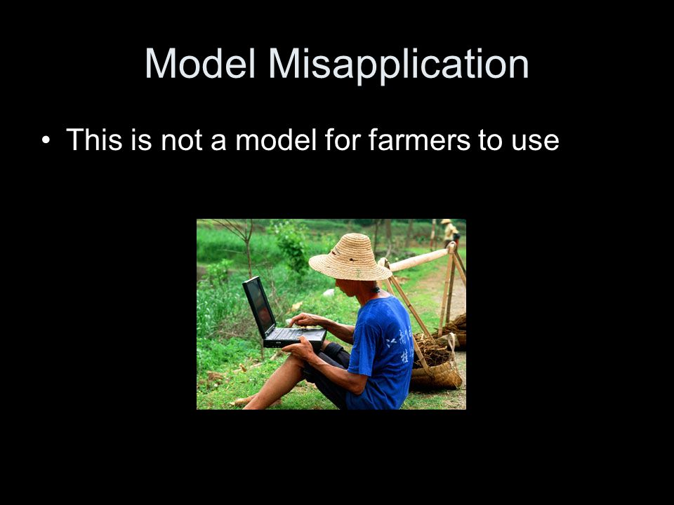 Model Misapplication This is not a model for farmers to use
