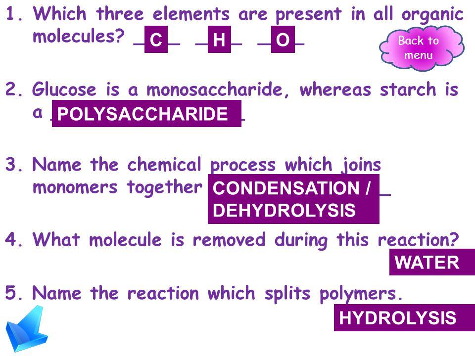 Carbohydrates (CH 2 O) n Molecular formula (CH 2 O) n eg glucose is C 6 H 12 O 6 or (CH 2 O) 6 High energy bonds store energy Monosaccharide & disaccharides = sugars Polysaccharides Polysaccharides include starch SUMMARY Back to menu