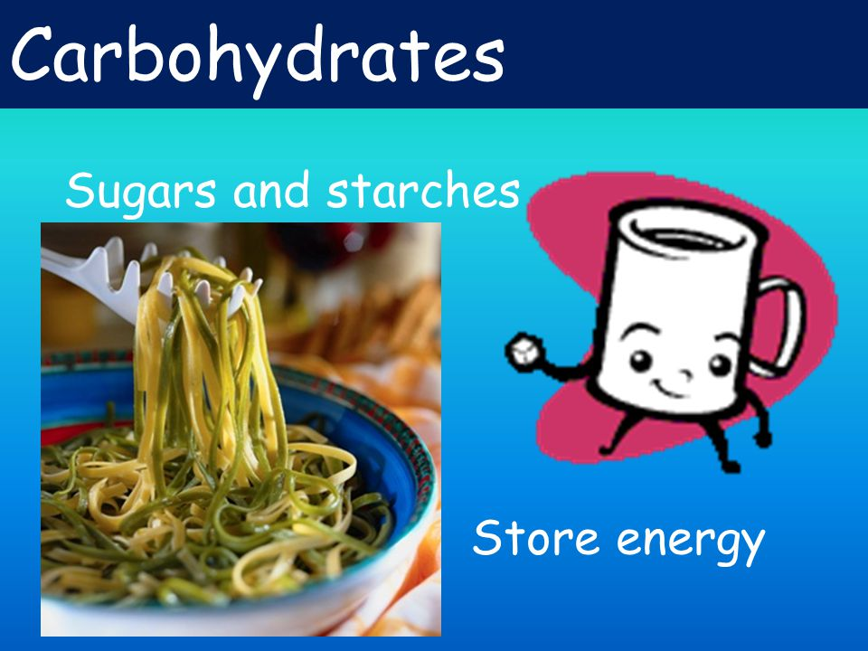 Carbohydrates Sugars and starches Store energy