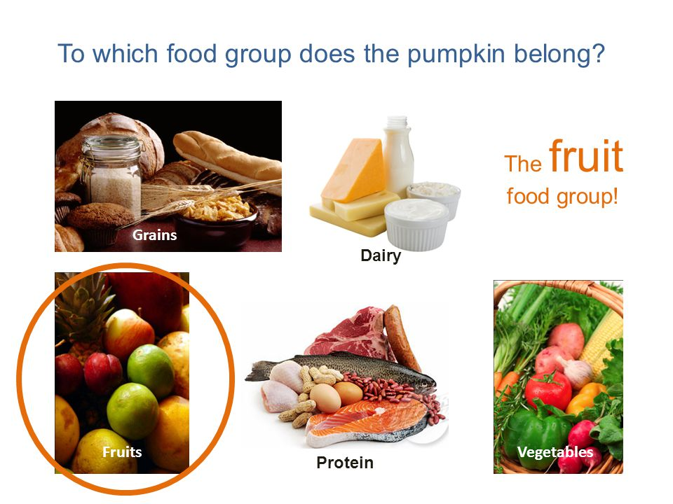 To which food group does the pumpkin belong.