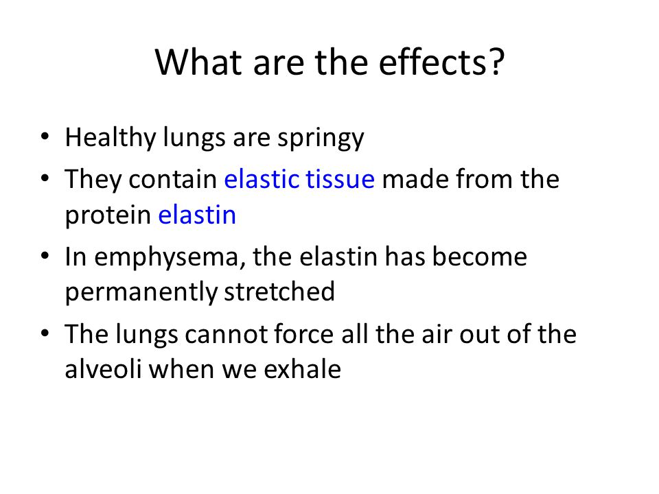 What are the effects? Healthy lungs are springy They contain elastic tissue made from the protein elastin In emphysema, the elastin has become permane