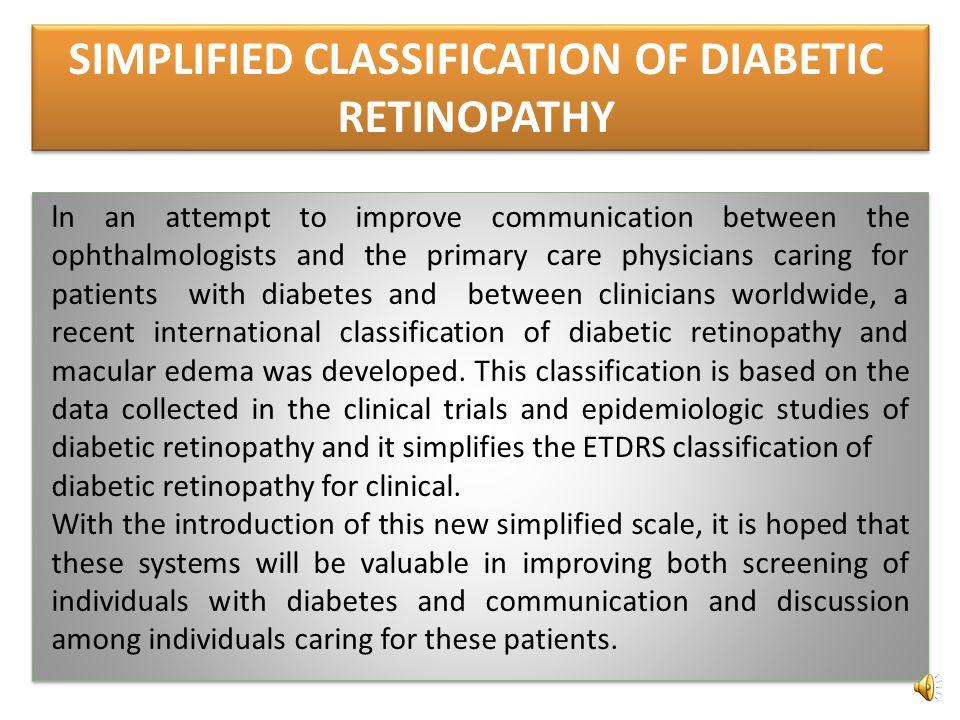 Classification of severity of diabetic retinopathy Lesions presentSeverity Nonproliferative No retinal lesionsNo retinopathy No lesions other than mic