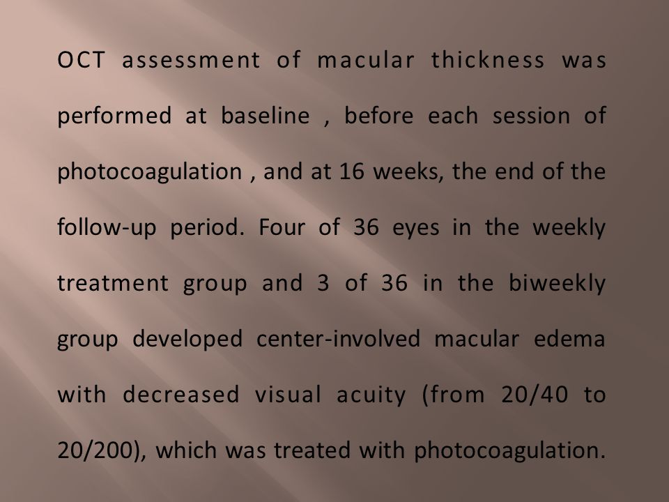 Thirty-six patients with severe nonproliferative or early proliferative retinopathy and 20/20 vision in each eye at baseline received scatter photocoa