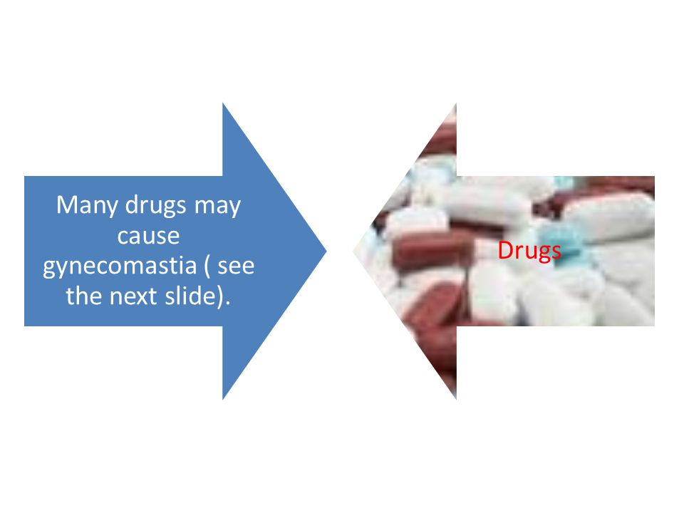 Many drugs may cause gynecomastia ( see the next slide). Drugs