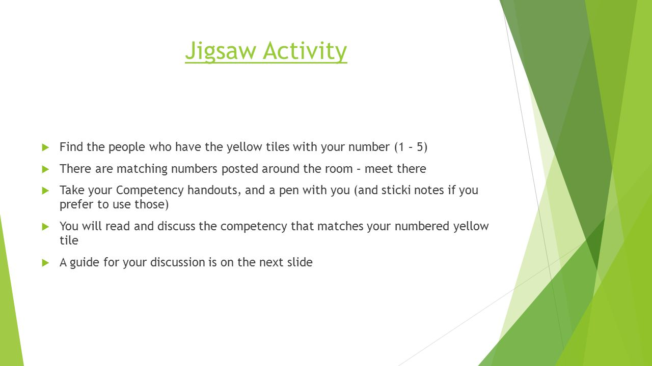 Jigsaw Activity  Find the people who have the yellow tiles with your number (1 – 5)  There are matching numbers posted around the room – meet there  Take your Competency handouts, and a pen with you (and sticki notes if you prefer to use those)  You will read and discuss the competency that matches your numbered yellow tile  A guide for your discussion is on the next slide