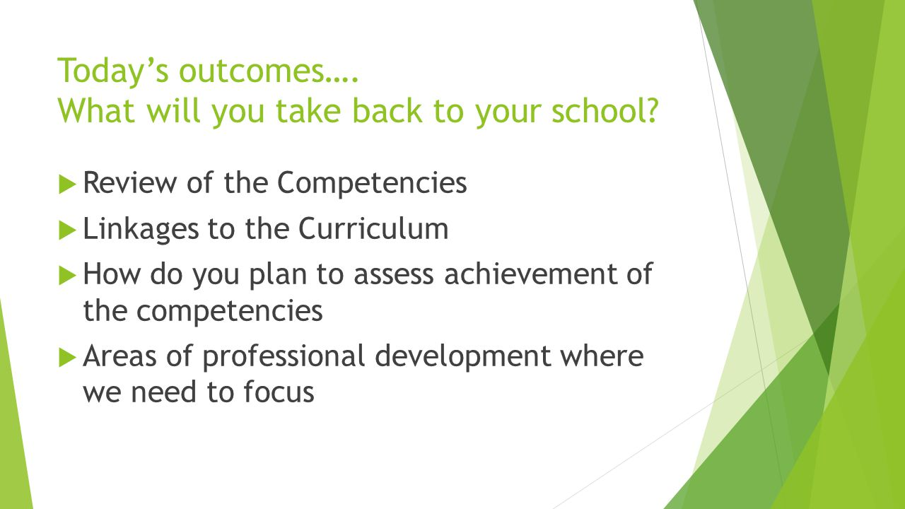 Today's outcomes…. What will you take back to your school.
