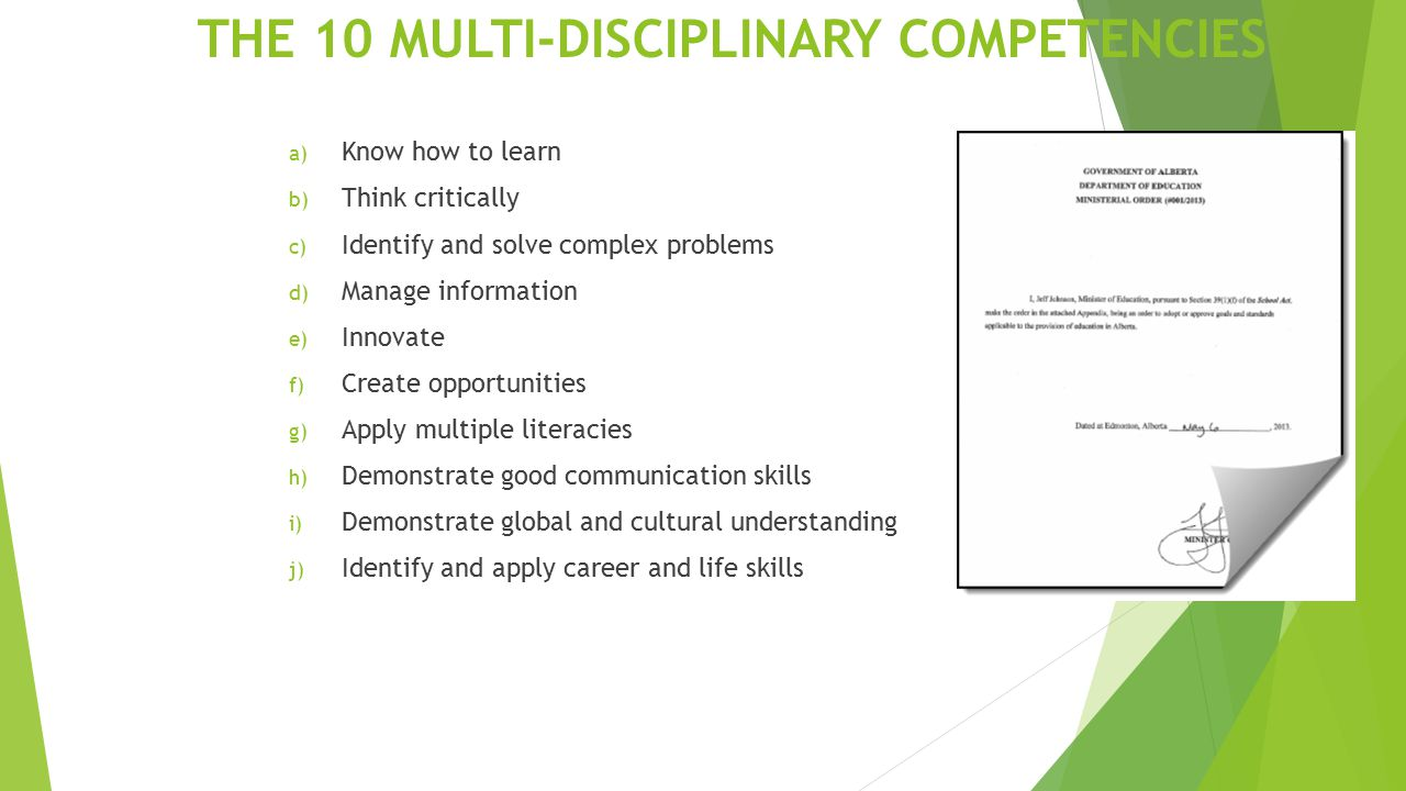 THE 10 MULTI-DISCIPLINARY COMPETENCIES a) Know how to learn b) Think critically c) Identify and solve complex problems d) Manage information e) Innovate f) Create opportunities g) Apply multiple literacies h) Demonstrate good communication skills i) Demonstrate global and cultural understanding j) Identify and apply career and life skills