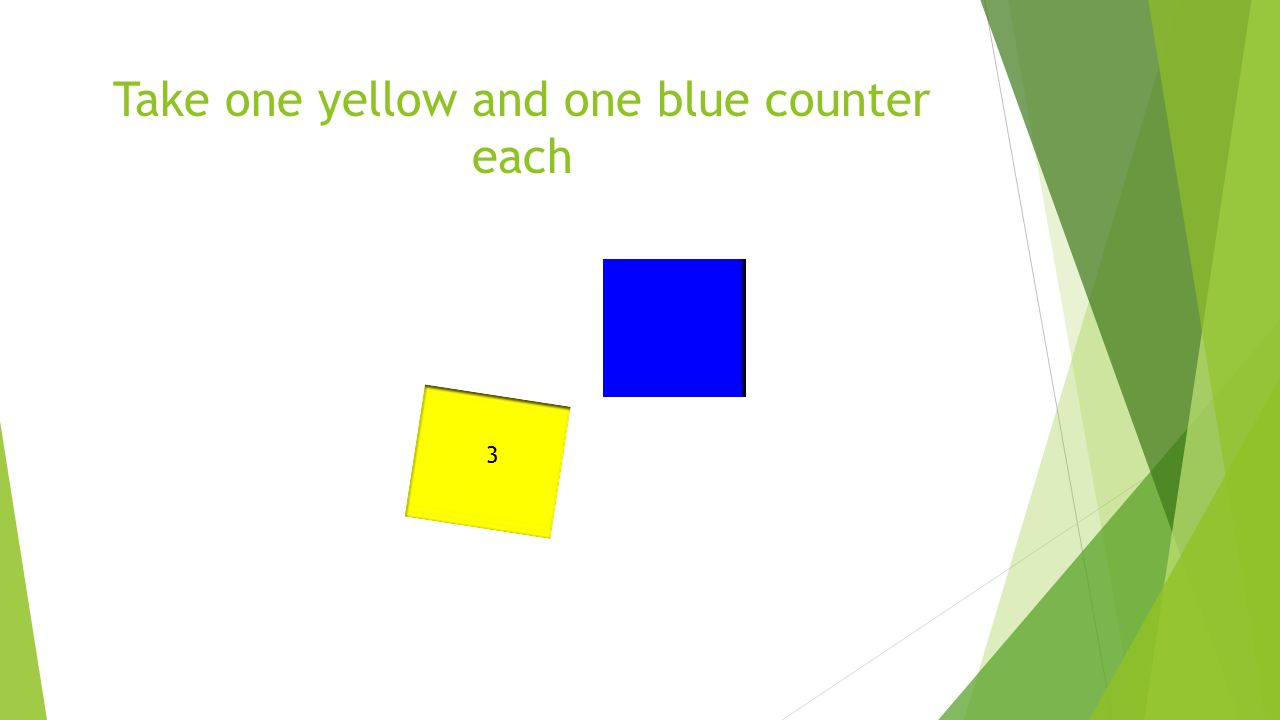 Take one yellow and one blue counter each 3