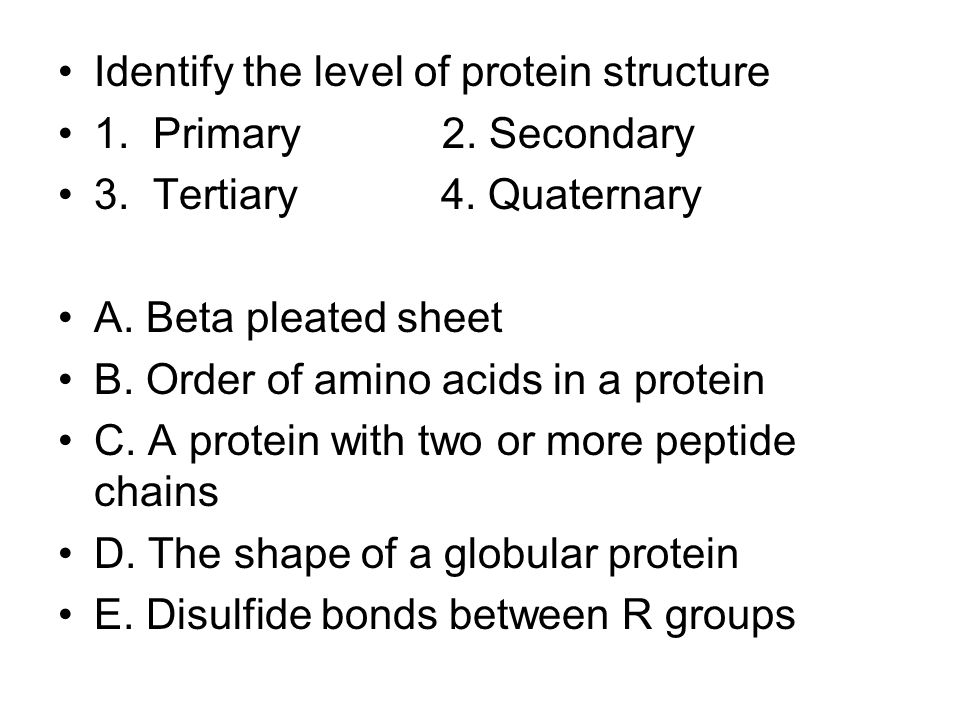 Identify the level of protein structure 1. Primary2.