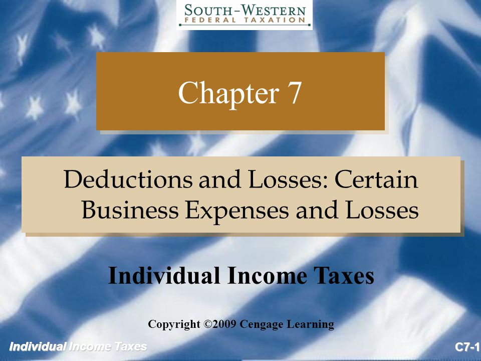 Individual Income Taxes C7-22 C&T Examples Business and production of income losses (no insurance proceeds received) Adjusted FMV FMV Item Basis Before After Loss A 6,000 8,000 5,000 3,000 B 6,000 8,000 1,000 6,000 C 6,000 4,000 0 6,000 Business and production of income losses (no insurance proceeds received) Adjusted FMV FMV Item Basis Before After Loss A 6,000 8,000 5,000 3,000 B 6,000 8,000 1,000 6,000 C 6,000 4,000 0 6,000
