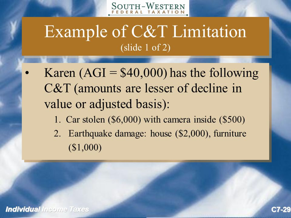 Individual Income Taxes C7-29 Example of C&T Limitation (slide 1 of 2) Karen (AGI = $40,000) has the following C&T (amounts are lesser of decline in value or adjusted basis): 1.