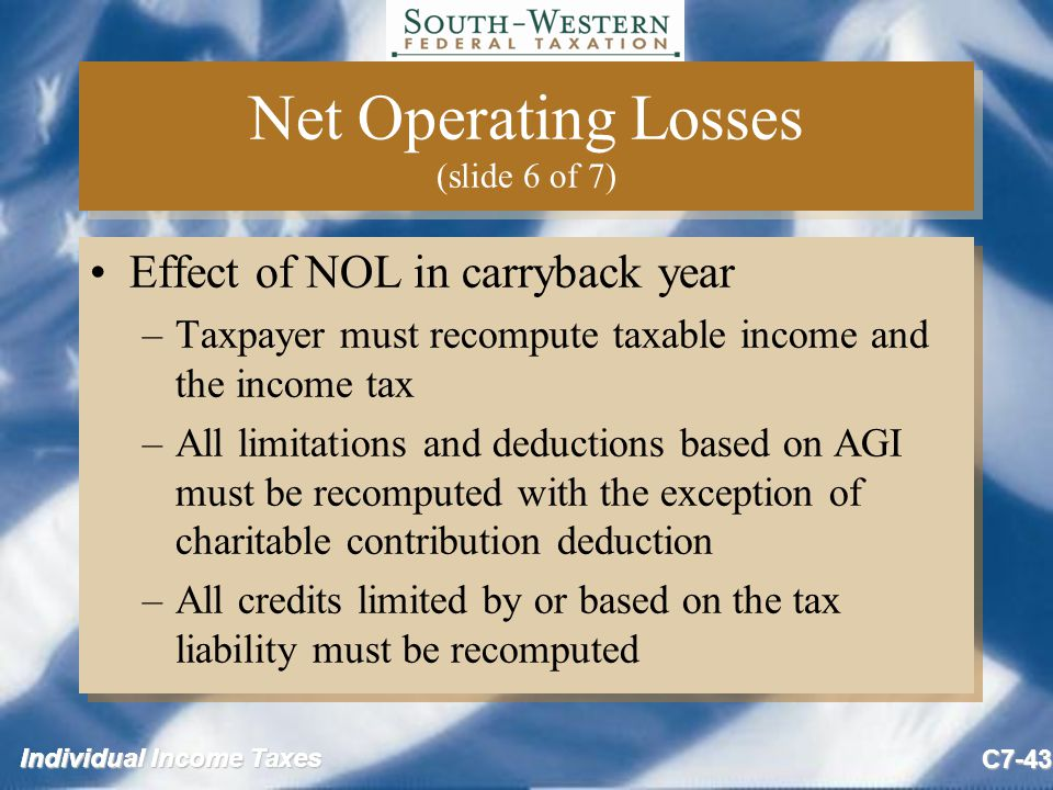 Individual Income Taxes C7-43 Net Operating Losses (slide 6 of 7) Effect of NOL in carryback year –Taxpayer must recompute taxable income and the income tax –All limitations and deductions based on AGI must be recomputed with the exception of charitable contribution deduction –All credits limited by or based on the tax liability must be recomputed Effect of NOL in carryback year –Taxpayer must recompute taxable income and the income tax –All limitations and deductions based on AGI must be recomputed with the exception of charitable contribution deduction –All credits limited by or based on the tax liability must be recomputed