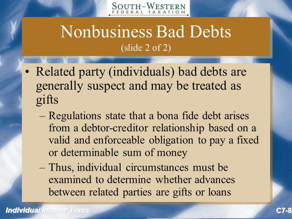 Individual Income Taxes C7-9 Classification of Bad Debts Individuals will generally have nonbusiness bad debts unless: –In the business of loaning money, or –Bad debt is associated with the individual's trade or business Determination is made either at the time the debt was created or when it became worthless Individuals will generally have nonbusiness bad debts unless: –In the business of loaning money, or –Bad debt is associated with the individual's trade or business Determination is made either at the time the debt was created or when it became worthless