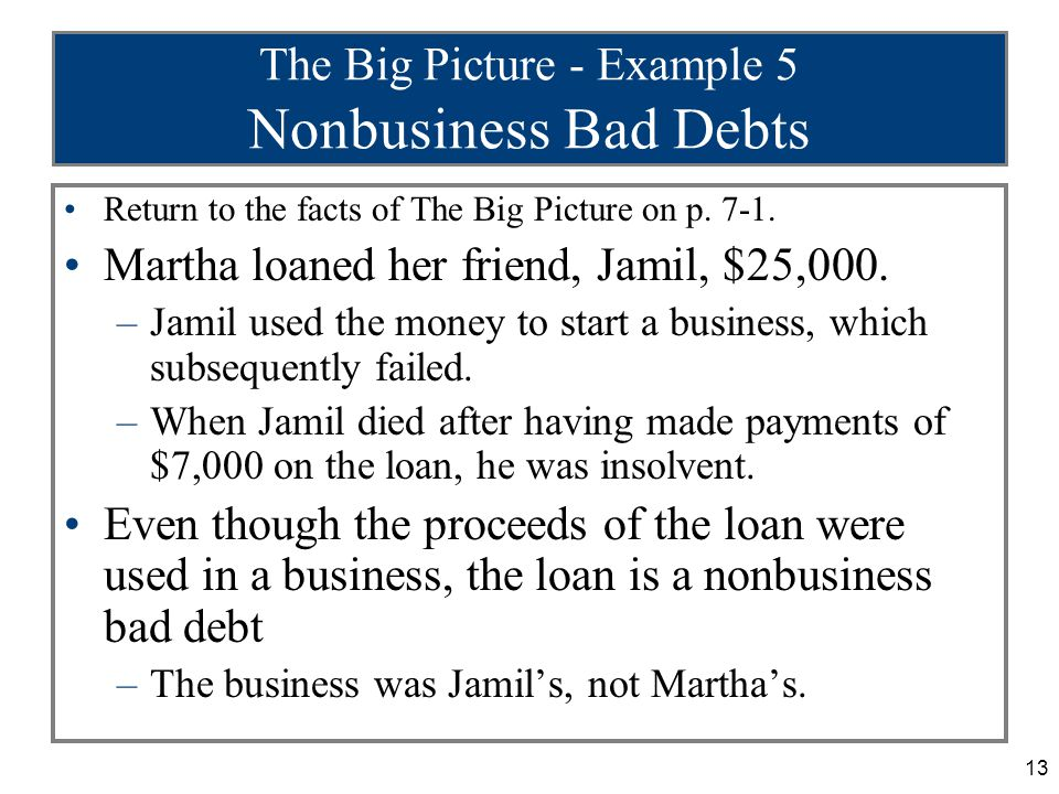 13 The Big Picture - Example 5 Nonbusiness Bad Debts Return to the facts of The Big Picture on p.