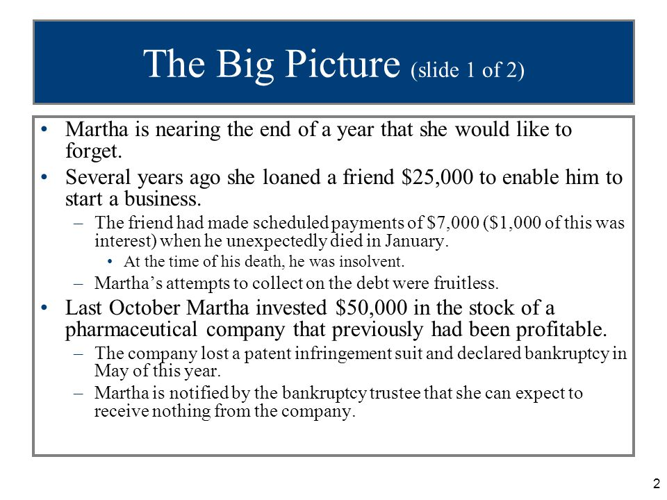 2 The Big Picture (slide 1 of 2) Martha is nearing the end of a year that she would like to forget.