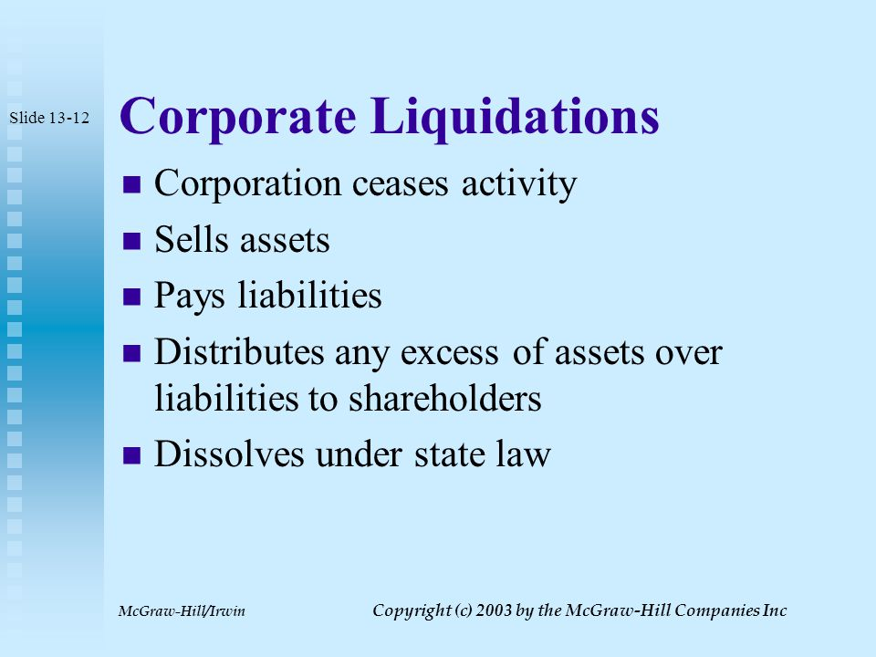 McGraw-Hill/Irwin Copyright (c) 2003 by the McGraw-Hill Companies Inc Business versus Nonbusiness Bad Debts Shareholder loans to corporation generally treated as nonbusiness debts  Result is capital loss if debt goes bad Shareholder employee who lends money to corporation may be able to claim ordinary loss but only if dominant motive is to protect employment Slide 13-11