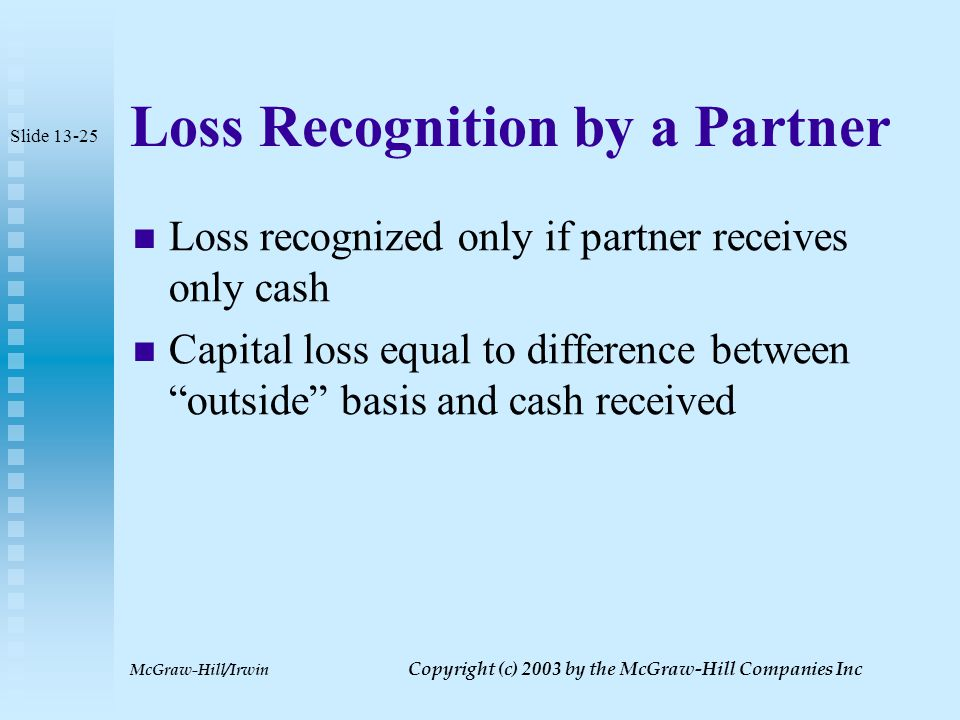 McGraw-Hill/Irwin Copyright (c) 2003 by the McGraw-Hill Companies Inc Distributions of Ordinary Income Property If unrealized receivables or inventory received by partner special rules apply Partner's bases in these items may never be more than partnership's bases in these items Partner recognizes ordinary income on disposition of unrealized receivable Partner who sells inventory within five years of distribution recognizes ordinary income or loss Slide 13-24