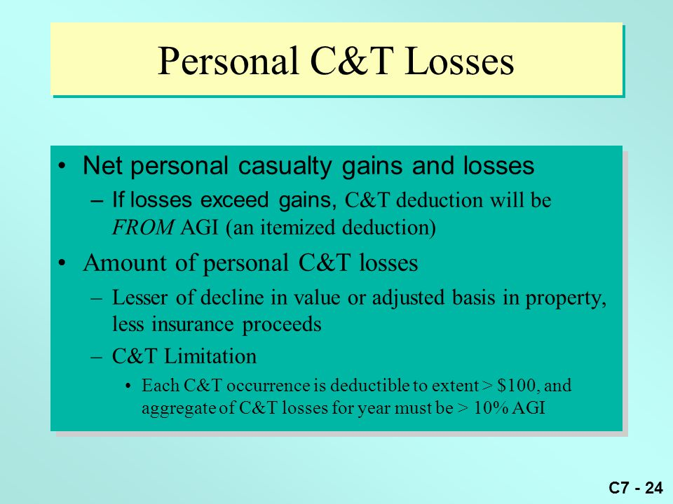 C7 - 24 Personal C&T Losses Net personal casualty gains and losses –If losses exceed gains, C&T deduction will be FROM AGI (an itemized deduction) Amount of personal C&T losses –Lesser of decline in value or adjusted basis in property, less insurance proceeds –C&T Limitation Each C&T occurrence is deductible to extent > $100, and aggregate of C&T losses for year must be > 10% AGI Net personal casualty gains and losses –If losses exceed gains, C&T deduction will be FROM AGI (an itemized deduction) Amount of personal C&T losses –Lesser of decline in value or adjusted basis in property, less insurance proceeds –C&T Limitation Each C&T occurrence is deductible to extent > $100, and aggregate of C&T losses for year must be > 10% AGI
