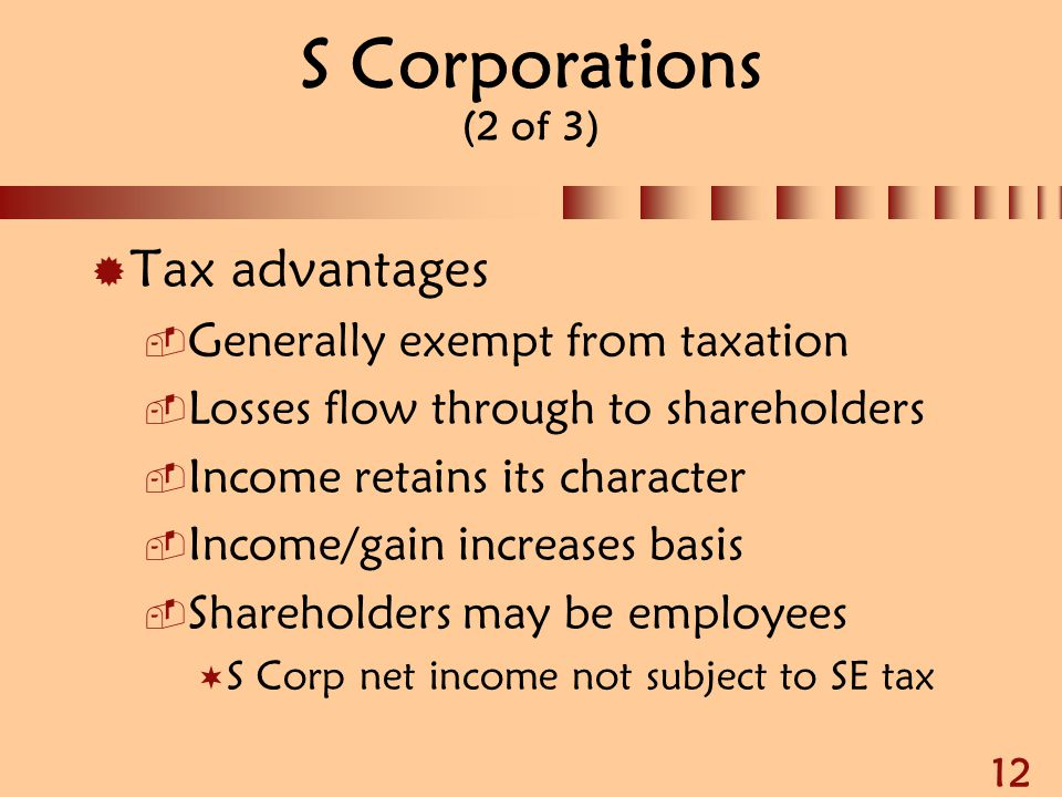 12 S Corporations (2 of 3)  Tax advantages  Generally exempt from taxation  Losses flow through to shareholders  Income retains its character  In