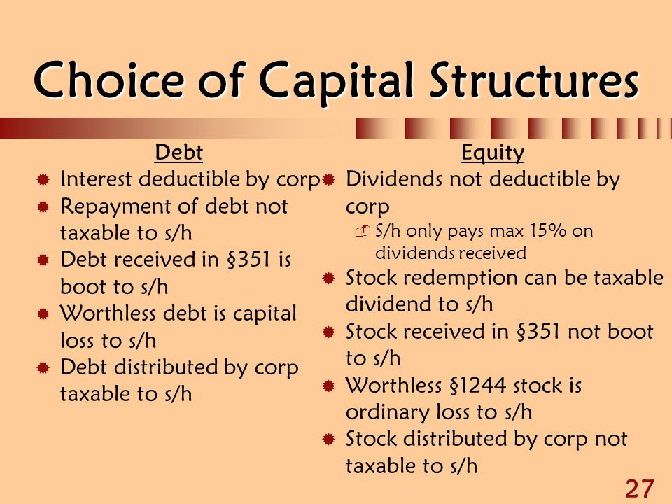 27 Choice of Capital Structures Debt  Interest deductible by corp  Repayment of debt not taxable to s/h  Debt received in §351 is boot to s/h  Wor