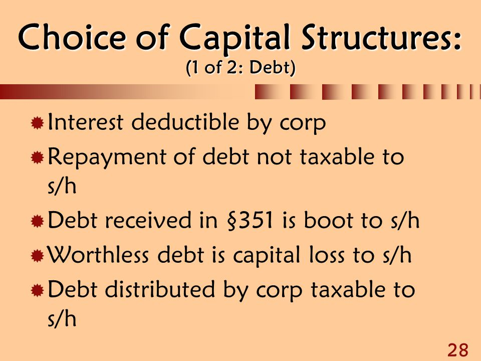 28 Choice of Capital Structures: (1 of 2: Debt)  Interest deductible by corp  Repayment of debt not taxable to s/h  Debt received in §351 is boot t