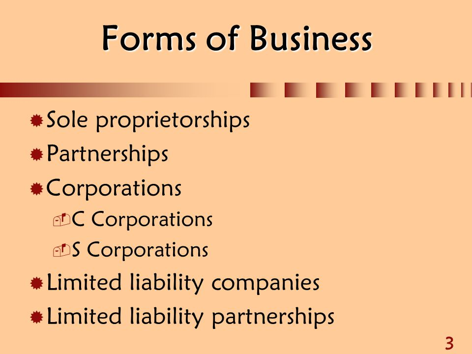 3 Forms of Business  Sole proprietorships  Partnerships  Corporations  C Corporations  S Corporations  Limited liability companies  Limited lia