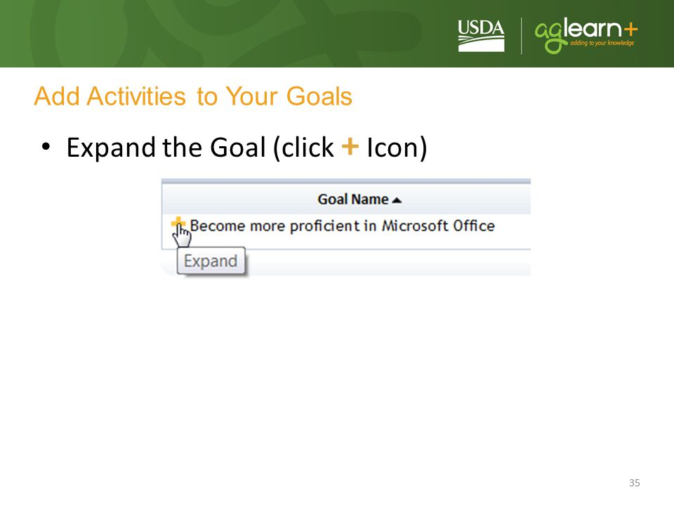 35 Add Activities to Your Goals Expand the Goal (click + Icon)
