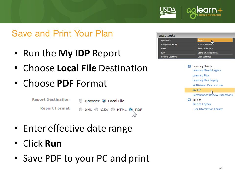40 Save and Print Your Plan Run the My IDP Report Choose Local File Destination Choose PDF Format Enter effective date range Click Run Save PDF to you