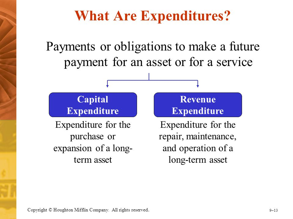 9–13 Copyright © Houghton Mifflin Company. All rights reserved. What Are Expenditures? Payments or obligations to make a future payment for an asset o
