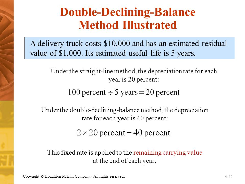 9–30 Copyright © Houghton Mifflin Company. All rights reserved. Double-Declining-Balance Method Illustrated A delivery truck costs $10,000 and has an