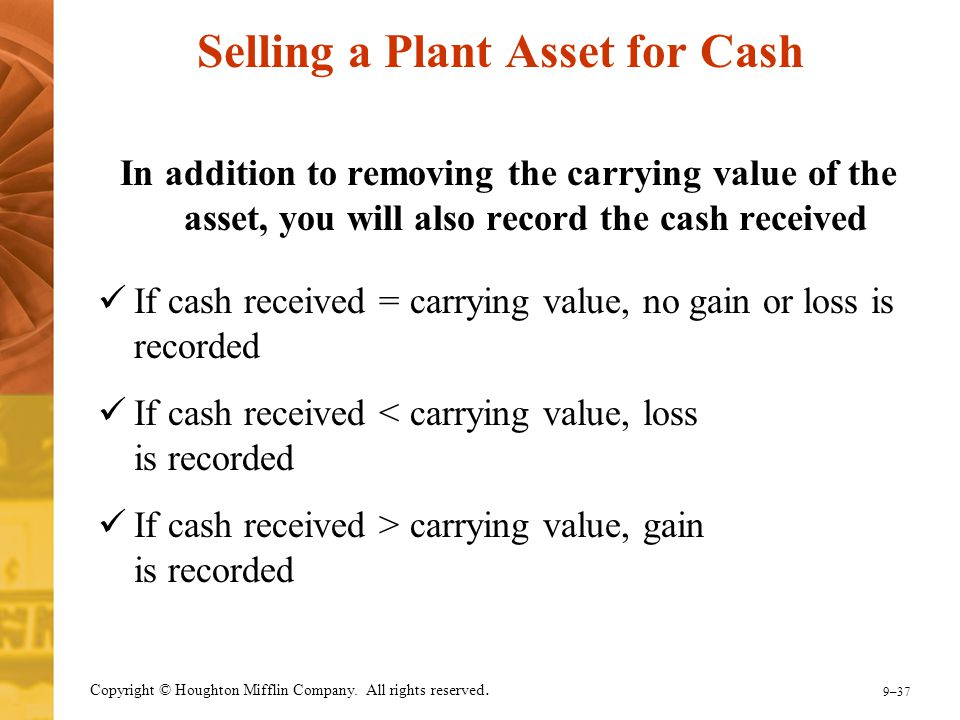 9–37 Copyright © Houghton Mifflin Company. All rights reserved. Selling a Plant Asset for Cash In addition to removing the carrying value of the asset