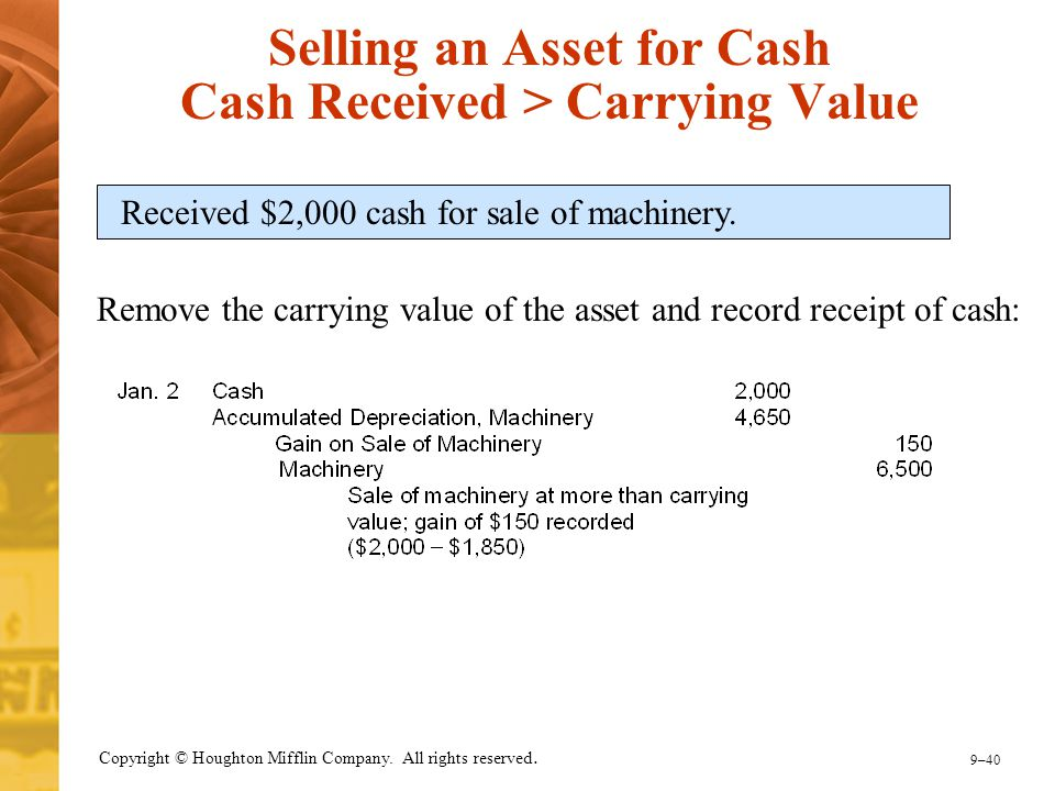 9–40 Copyright © Houghton Mifflin Company. All rights reserved. Selling an Asset for Cash Cash Received > Carrying Value Received $2,000 cash for sale