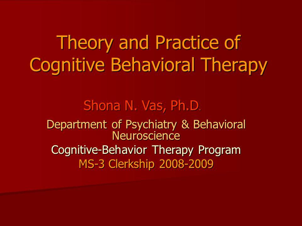 Applications of CBT Mood Disorders Mood Disorders –Unipolar Depression (1979) –Bipolar Disorder (1996) –Dysthymia and Chronic MDD (2000) Anxiety Disorders Anxiety Disorders –GAD (1985) –Social Phobia (1985) –Panic Disorder (1986) –OCD (1988) –PTSD (1991) Emotional Disorders (2006) Emotional Disorders (2006)