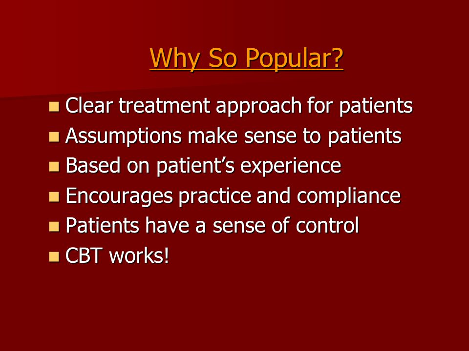 Cognitive Distortions Patients tend to make consistent errors in their thinking Patients tend to make consistent errors in their thinking Often, there is a systematic negative bias in the cognitive processing of patients suffering from psychiatric disorders Often, there is a systematic negative bias in the cognitive processing of patients suffering from psychiatric disorders Help patient identify the cognitive errors s/he is most likely to make Help patient identify the cognitive errors s/he is most likely to make