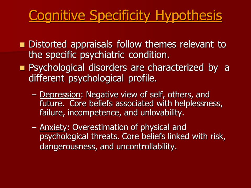 Cognitive Interventions Monitor automatic thoughts Monitor automatic thoughts Teach imagery techniques Teach imagery techniques Promote cognitive restructuring Promote cognitive restructuring Examine alternative evidence Examine alternative evidence Modify core beliefs Modify core beliefs Generate rational alternatives Generate rational alternatives