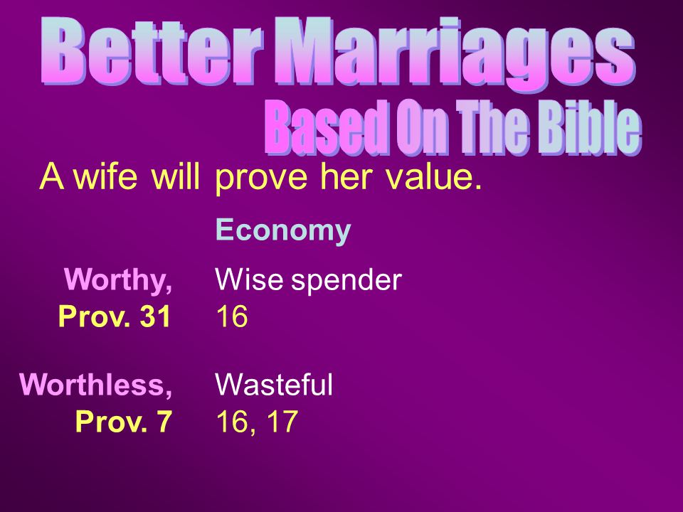 Economy A wife will prove her value. Wise spender 16 Wasteful 16, 17 Worthy, Prov.