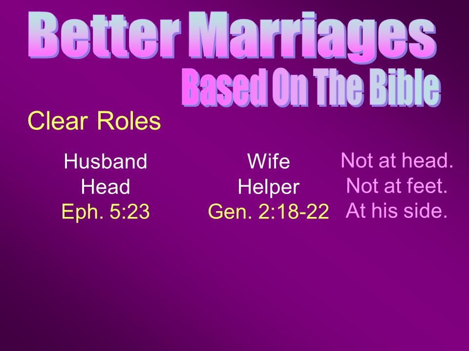 Husband Head Eph. 5:23 Clear Roles Wife Helper Gen. 2:18-22 Not at head. Not at feet. At his side.